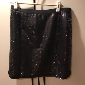 Jcrew navy sequin pencil skirt with pockets!